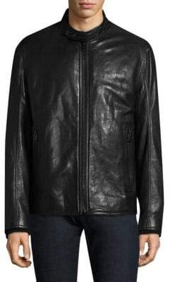 Andrew Marc French Supple Leather & Faux Shearling Racer Motorcycle Jacket
