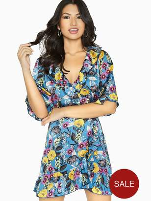 Girls On Film Floral Wrap Dress - Printed