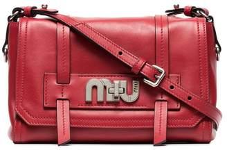 Miu Miu red logo buckle leather satchel bag