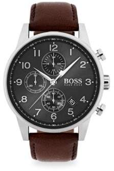 HUGO BOSS Navigator Stainless Steel& Chronograph Brown Leather Strap Watch