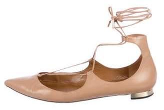 Aquazzura Leather Pointed-Toe Lace-Up Flats
