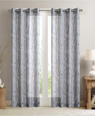 "Madison Park Averil 50"" x 63"" Sheer Burnout Bird Grommet Curtain Panel"