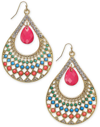 Thalia Sodi Gold-Tone Beaded Stone Teardrop Drop Earrings, Created for Macy's