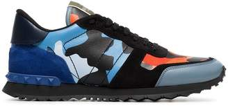 Valentino black, blue and orange camouflage rockrunner leather sneakers