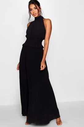 boohoo Shirred Waist Pleated Maxi Dress