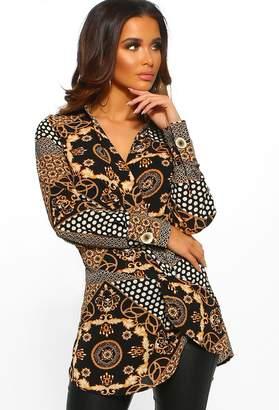 Pink Boutique Chic Vibes Black Multi Print Wrap Top