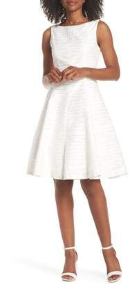 Maggy London Sleeveless Jacquard Fit & Flare Dress