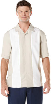 Cubavera Camp Collar Short Sleeve Contrast Panel