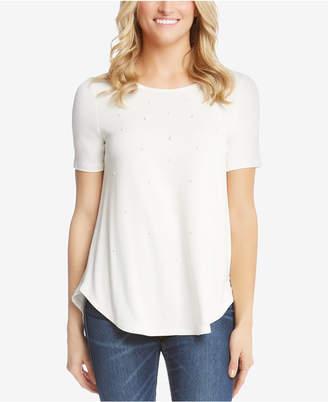 Karen Kane Crew-Neck Faux-Pearl-Embellished T-Shirt