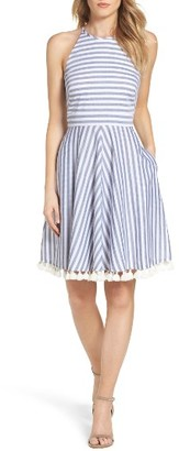 Women's Eliza J Stripe Fit & Flare Dress $128 thestylecure.com