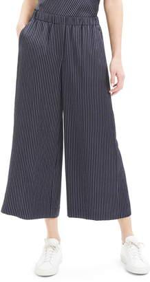 Theory Raoka Stripe Wide Leg Crop Silk Pants