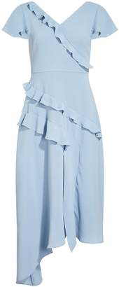 Next Womens Adrianna Papell Blue Gauzy Crepe Ruffled Fit And Flare Dress