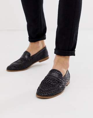 6bc1269ab48 Asos Design DESIGN loafers in black woven leather