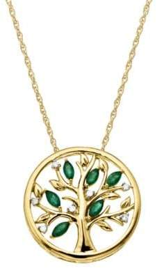 Lord & Taylor 14Kt. Yellow Gold Diamond and Emerald Pendant Necklace