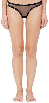 Fleur Du Mal Women's Lace-Trimmed Sheer Thong - Black