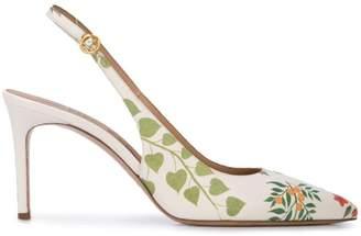 Oscar de la Renta floral print slingback pumps