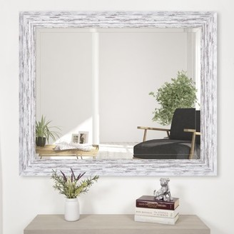 "Distressed White Scoop Framed Beveled Wall Accent Mirror 24""x30"" by Gallery Solutions"