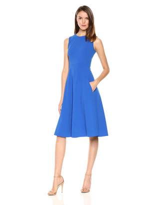 Calvin Klein Women's Sleeveless Princess Seamed A-line Midi Dress
