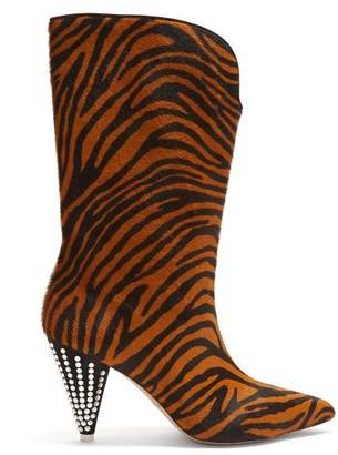 Attico - Zebra Stripe Calf Hair And Crystal Boots - Womens - Black Brown