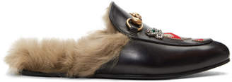 Gucci Black Lion and Pierced Heart Princetown Slip-On Loafers