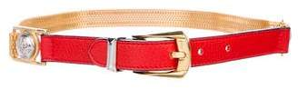 Gianni Versace Embellished Leather Chain-Link Belt