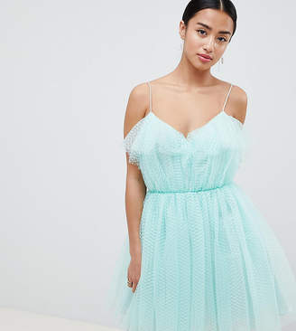 Asos DESIGN Petite mini dobby tulle prom dress with ruffle bodice