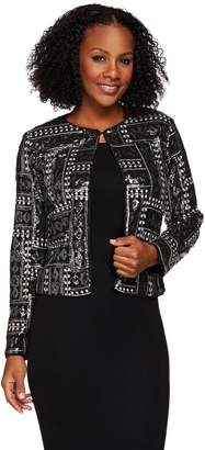 Bob Mackie Bob Mackie's Long Sleeve Open Front Sequin Jacket