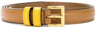 Prada two tone buckle belt