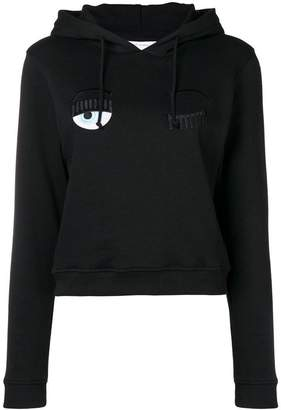 Chiara Ferragni eye embroidery hooded sweatshirt