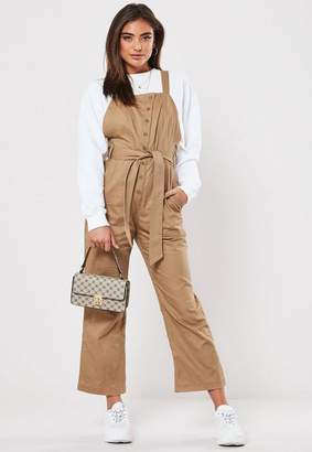 Missguided Stone Button Front Dungaree Jumpsuit, Stone