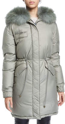Mr & Mrs Italy Mr&Mrs Italy Fox-Collar Zip-Front Padded Down Puffer Coat