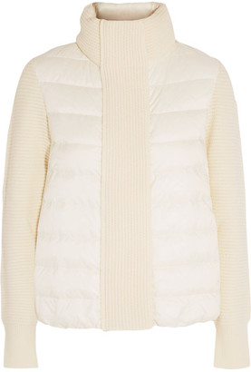 Moncler - Maglione Quilted Shell And Ribbed Wool Jacket - Ivory $680 thestylecure.com
