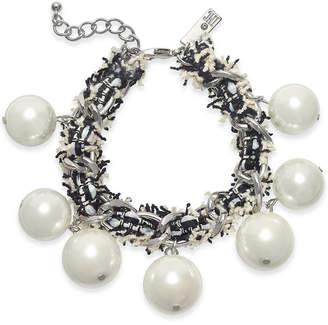 INC International Concepts I.N.C. Silver-Tone Imitation Pearl Fabric-Weaved Flex Bracelet, Created for Macy's