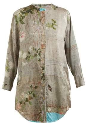 By Walid - Celia Chrysanthemum Print Silk Top - Womens - Grey Print