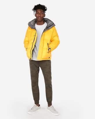 Express Yellow Mock Neck Puffer Coat