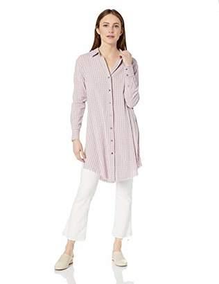 William Rast Women's Angel Split Sleeve Button Down Long Length Shirt