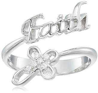 "Swarovski Sterling Silver ""Faith"" Sentiment and Cross Open Ring Made with Zirconia (Size 7)"