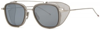 Silver-tone Aviator Style Sunglasses