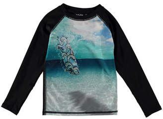 Molo Neptune Skateboard-Print Long-Sleeve Rash Guard, Size 18M-12