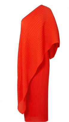 SOLACE London Sanna One-shoulder Plissé-chiffon Dress - Red
