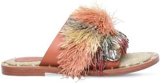 Sanchita 10mm Raffia & Leather Sandals