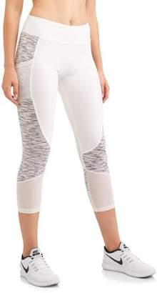N.Y.L. Sport Women's Active Contrast Spacedye Performance Capri Legging With Media Pocket