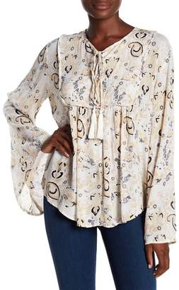 Elan International Patterned Bell Sleeve Blouse