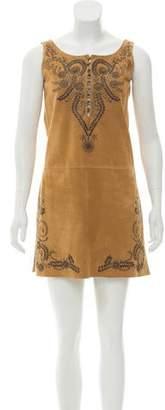 Hermes Embellished Suede Dress