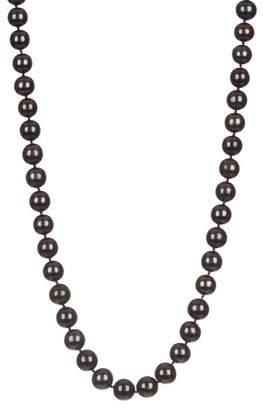 Splendid Pearls CZ Accented Clasp Dyed Black 10-11mm Freshwater Pearl Necklace