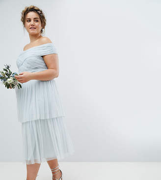 Bardot Maya Plus Tulle Bridesmaid Body With Wrap Bow Detail