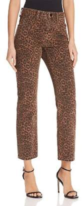 Alexander Wang Cult Cropped Straight Jeans in Tan Leopard