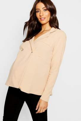 boohoo Maternity Horn Button Peplum Jacket
