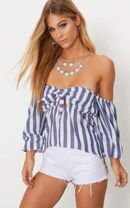 PrettyLittleThing Indigo Stripe Bardot Bow Front Shirt