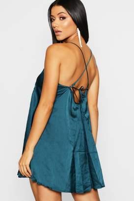 boohoo Satin Strappy Tie Back Swing Dress